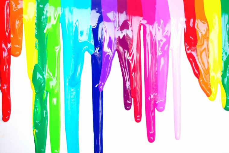 multicolored paint drippings